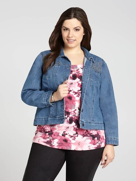 Laura Plus: for women size 14 . Baccini takes on an edgy look by softening things up with the addition of embellished and embroidered details. You'll love its faded wash, too, giving it a more vintage-classic feeling....5010335-0170