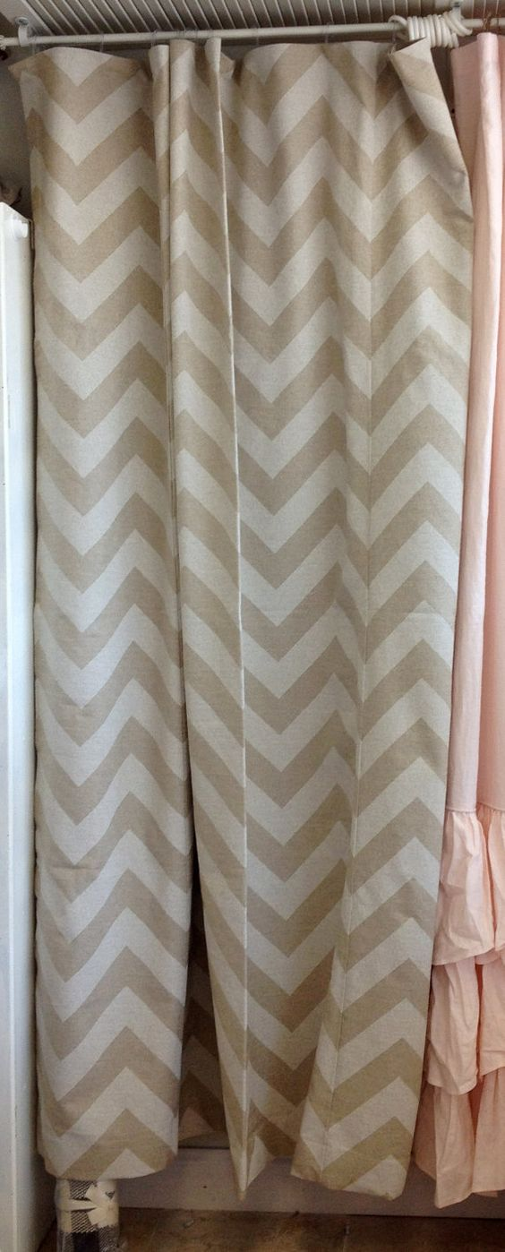 Khaki Amp White Chevron Shower Curtain Ld Linens Amp Decor New
