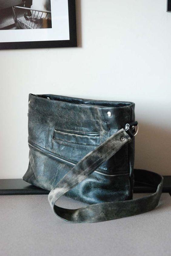 upcycle leather bag.