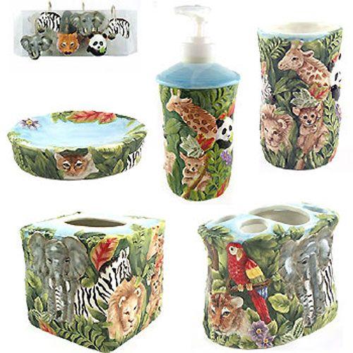Jungle Bathroom | Jungle   17 Piece Bathroom Set   Kids Safari | Safari  Bathroom |