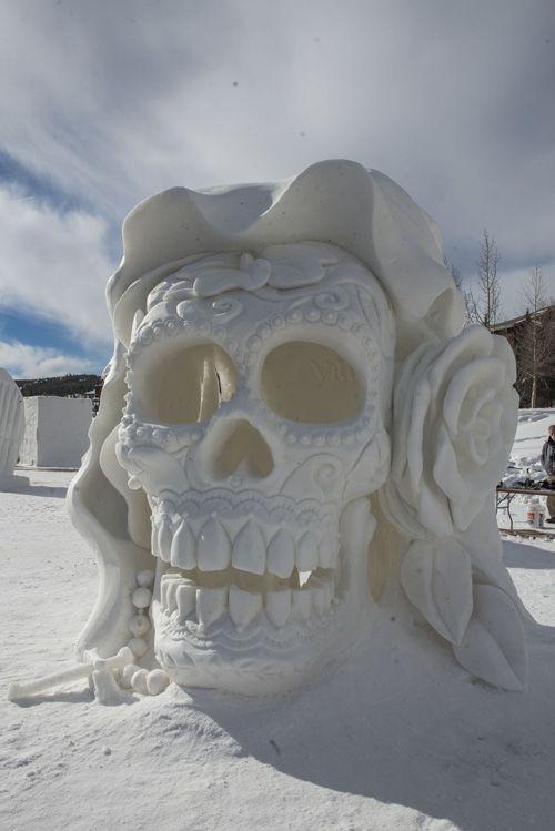 skull face sculpture #snowSculpture #snow #winter #sculpture