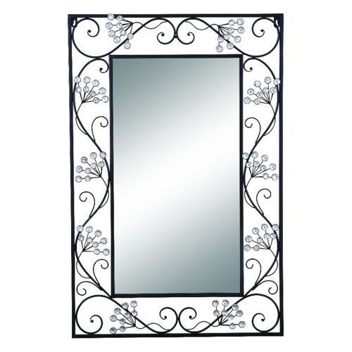 Woodland Imports Elegant Mirror Black Metal Frame Scroll