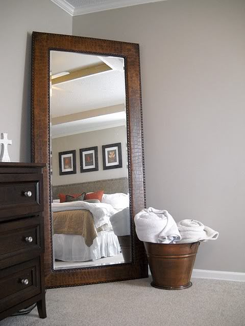 Leaning mirror mirror and full length mirrors on pinterest for Large mirror for bedroom wall