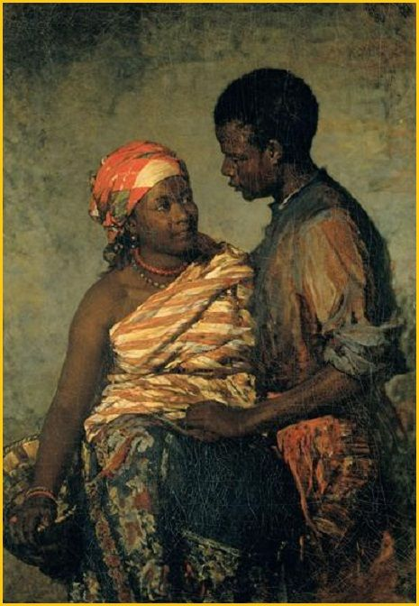 Artist: Miguel Ângelo Lupi Date: 1879. This is a couple of former slaves that accompained a portuguese aristocrat, Serpa Pinto, in his voyages through Africa and finally back to Portugal, long after the end of slavery. He wrote about them in his memoirs and the painter Miguel Ângelo Lupi immortalized them in this beautiful painting.