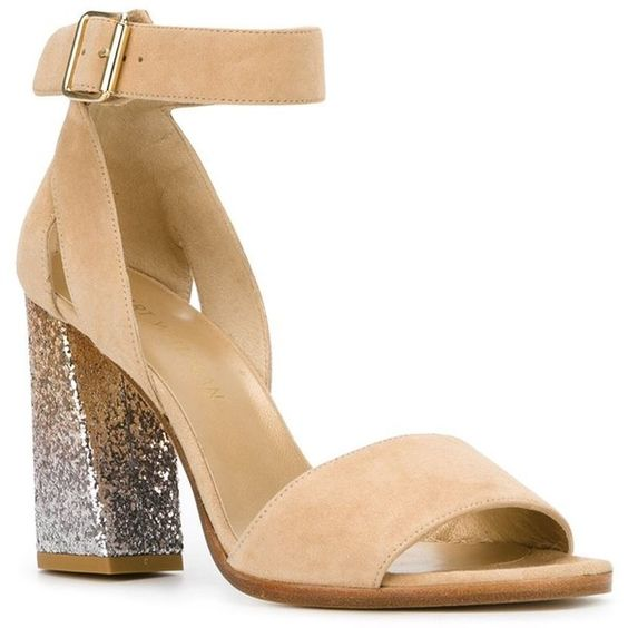 Stuart Weitzman Chuncky Heel Glitter Sandals (415 CHF) ❤ liked on Polyvore featuring shoes, sandals, glitter shoes, stuart weitzman sandals, nude leather shoes, glitter sandals and leather sandals