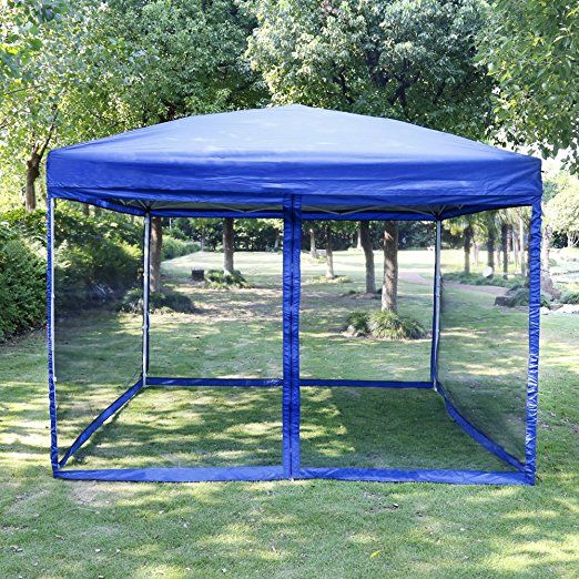 Vivohome Outdoor Easy Pop Up Canopy Screen Party Tent With Mesh Side Walls Blue 10 X 10 Ft Gazebo Tent Pop Up Canopy Tent Party Tent