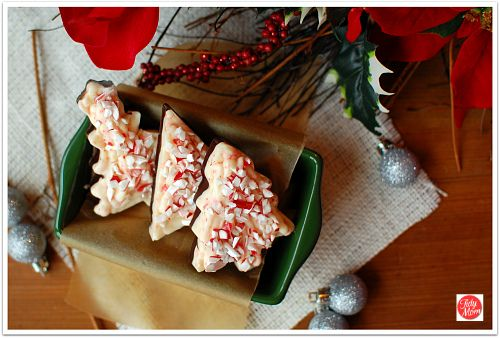 Peppermint bark made in cookie cuttters...use any shape you wish!