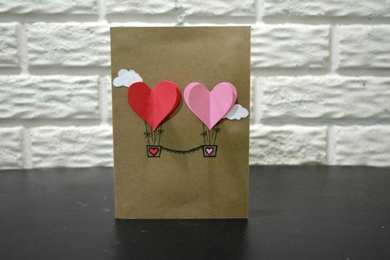Cute Couple Hearts Hot Air Balloon Greeting Card, Valentines Day Couple card, Anniversary card by NishsCreations on Etsy