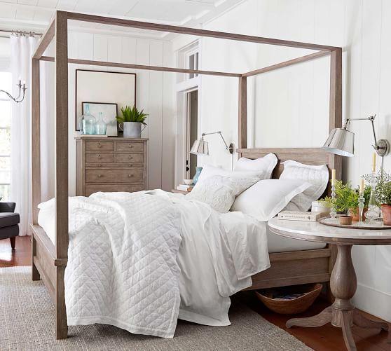 Belgian Flax Linen Diamond Quilt Amp Shams Flagstone Potterybarn Farmhouse Canopy Beds Farmhouse Bedroom Furniture Home Decor Bedroom