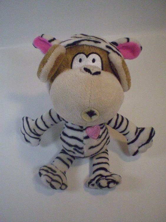 "BOBBY JACK 8"" Plush Bean Bag Toy Brown Monkey Pink Black White Zebra Pajamas #BobbyJack"