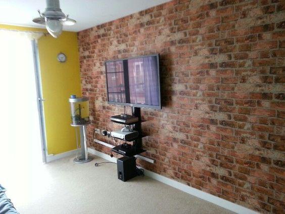 Textured brick wallpaper bedroom ideas blue wallpaper - Textured paint ideas for living room ...