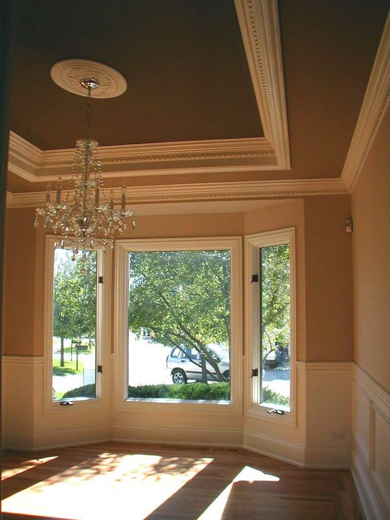 Great tray ceiling and wainscoting crown molding tray for Tray ceiling trim ideas
