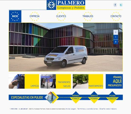 """Desde Indiproweb os presentamos nuestro nuevo trabajo web realizado para la empresa """"Limpiezas Palmero"""" dedicada al sector de la Limpieza y el Pulido en León. Podeis visitar su web al completo en www.limpiezaspalmero.com"""