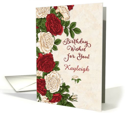 Happy Birthday Wishes Custom Name Beautiful Red And White Roses