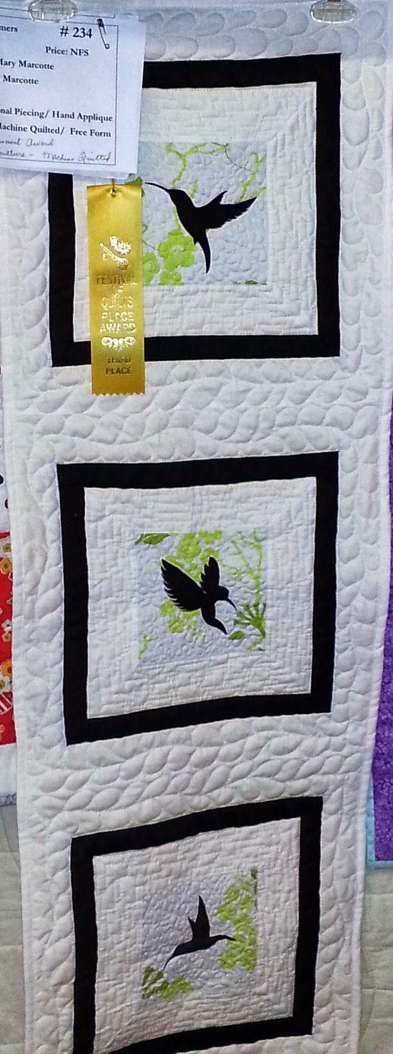 """Three Hummingbirds"" completed in 2013. (Trapunto hummingbirds.)"