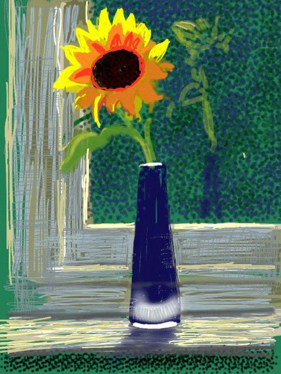 David Hockney for ipad, fleurs fraiches