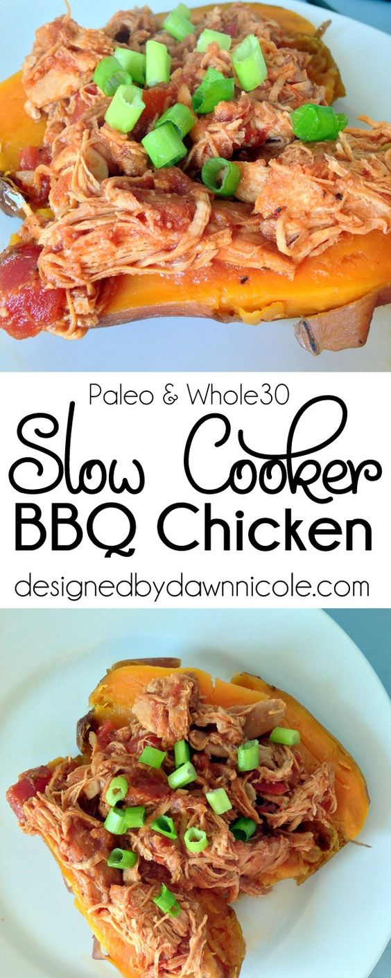 Slow Cooker BBQ Chicken. The BEST Whole30 BBQ sauce! #slowcooker #whole30 #paleo