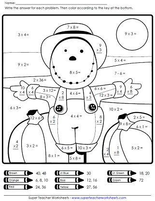 Autumn Scarecrow Math Worksheet On Super Teacher Worksheets Actividades De Multiplicacion Fichas De Matematicas Actividades Escolares