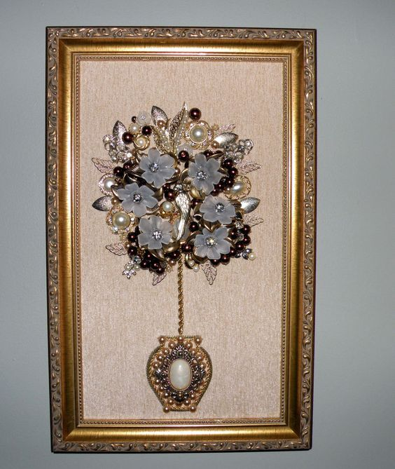 Large Original Framed Vintage Jewelry Art Flower Topiary