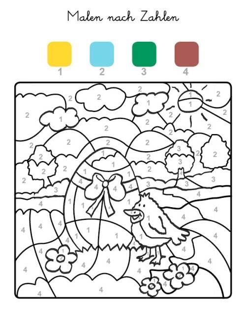 Malen Nach Zahlen Osterei Und Kuken Ausmalen Zum Ausmalen Malen Nach Zahlen Ostern Malen Foto Ostern