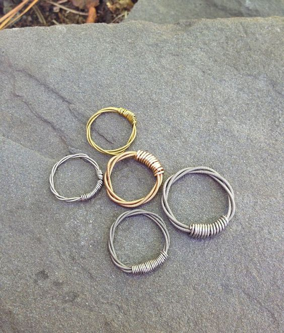Upcycled Guitar String RINGS Gold or Silver - Great Gift Idea for Anyone - Handmade Original Unique Jewelry on Etsy, $12.00