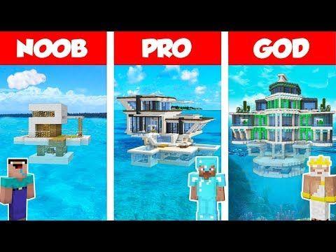 Minecraft Noob Vs Pro Vs God Modern House On Water Build