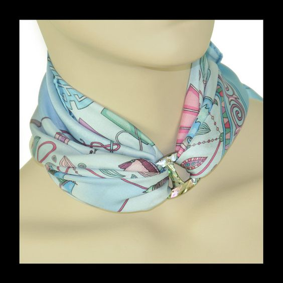 ANNE TOURAINE Paris™: Rêves de Soie celeste blue scarf  and MEDIUM SCARF RING - PAUA SHELL