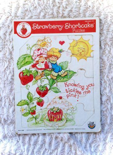 Vintage-1981-Strawberry-Shortcake-Board-Puzzle-Craft-Masters-Cute-VTG-Retro-RARE