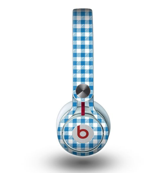 The Blue and White Woven Plaid Pattern Skin for the Beats by Dre Mixr Headphones