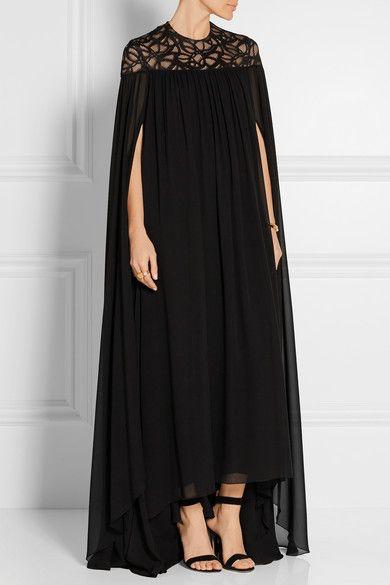 elie saab robe longue du soir en georgette de soie m lang e empi cements en dentelle net a. Black Bedroom Furniture Sets. Home Design Ideas