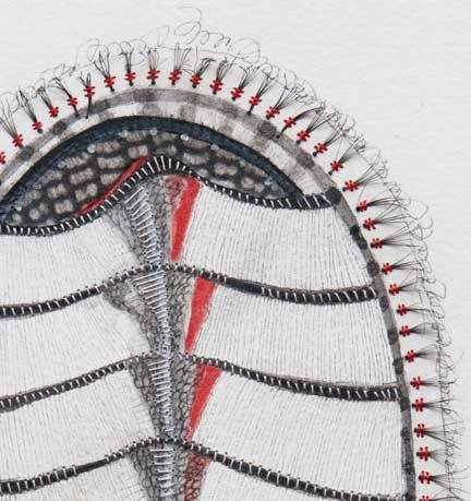 Gammy Miller Chiton ciliata falsus, var. gam (detail). Pen and ink, edged with silk and stitched with false eyelashes. Yes, STITCHED WITH FALSE EYELASHES!  Love.