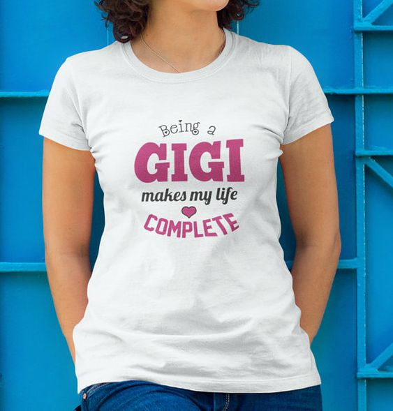 Being a Gigi Makes My Life Complete T-Shirt  This fun Tshirt makes a great gift for any Gigi.  Gigi Shirt to show you love of being a Gigi. Vist our shop for matching Coffee Mugs and Necklaces https://www.etsy.com/shop/CaliKays  -------------------------------------------------------  *Gildan Womens Relaxed Fit Tee *Relaxed fit, runs on the larger side. *100% preshrunk ringspun cotton. *Sizing Offered: S - 3XL *Made in; Honduras. *Machine Was Warm, Tumble Dry Low.    ** Size Chart ** LENGTH…