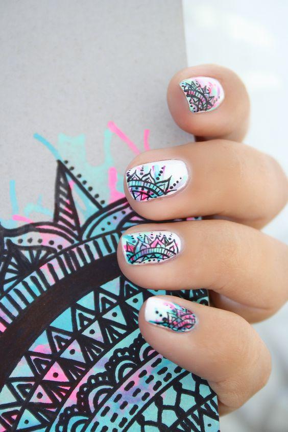 Hello hello :) Aujourd'hui je publie un petit billet sur un nail art qui m'a été inspiré de mes cahiers DIY  que je me suis fais il y a quelques jours ^^Je m'exp