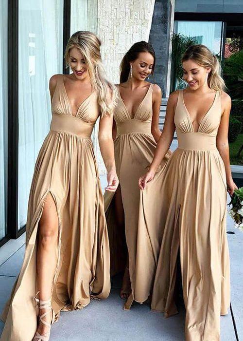 A Line Deep V Neck Two Straps Satin Gold Floor Length Bridesmaid Dresses Wg087 Bridesmaid Dresses Uk Satin Bridesmaid Dresses Sleeveless Bridesmaid Dresses