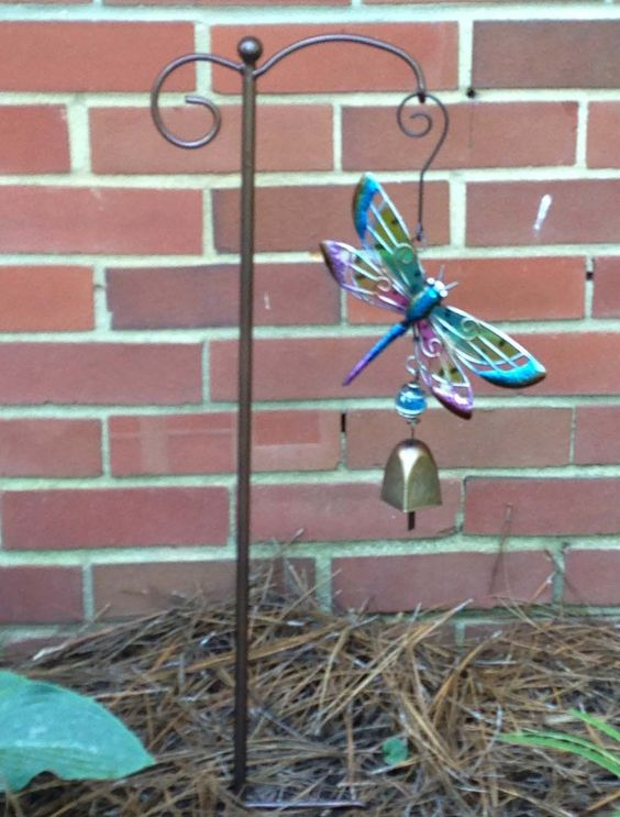 Glass and Metal Dragonfly Bell with Shepherds Hook Garden Stake