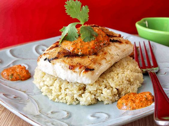 Grilled Mahi with Roasted Red Pepper and Cilantro Pesto - this is fantastic!!  The pesto is wonderful
