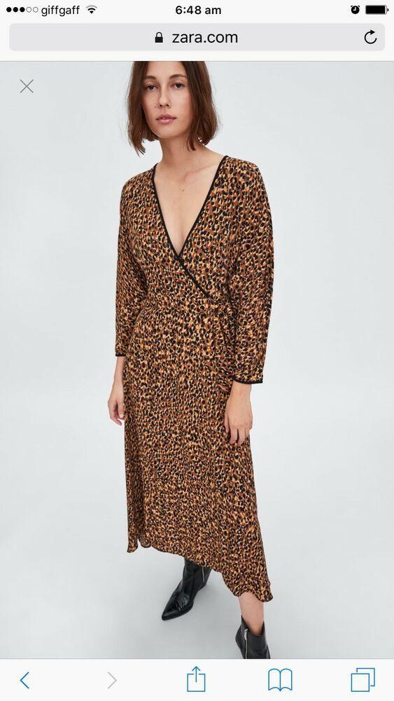 Zara New Animal Print Dress Leopard Brown Wrap Long Maxi Crossover Size S Fashion Clothing Shoes Red Polka Dot Dress Long Sleeve Maxi Dress Midi Maxi Dress