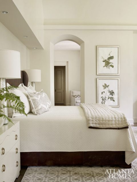 Masculine And Feminine Elements Mingle Comfortably In The Master Bedroom A Leather Bed Is