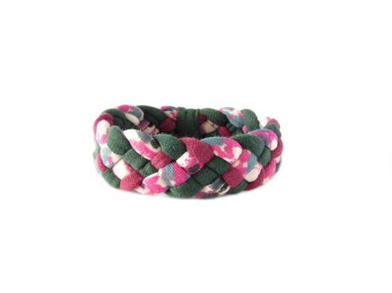 Braided Bracelet Cuff Bracelet Fabric Bracelet by gicreazioni
