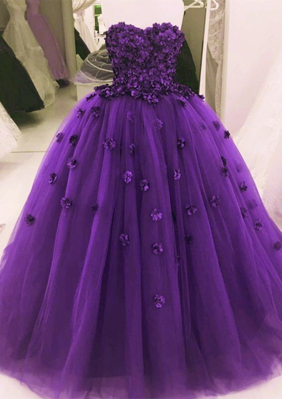Pretty Purple Strapless Sequined Ball Gown with a Butterfly on the Bodice