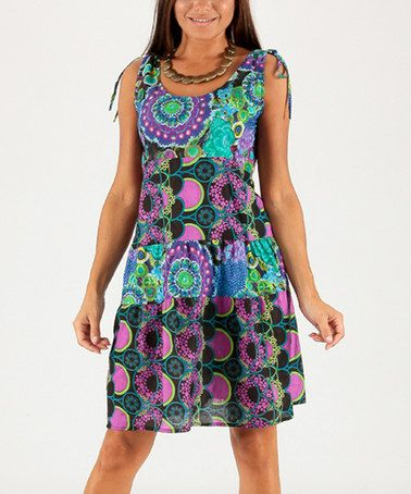Another great find on #zulily! Hot Pink & Teal Patchwork Shift Dress #zulilyfinds