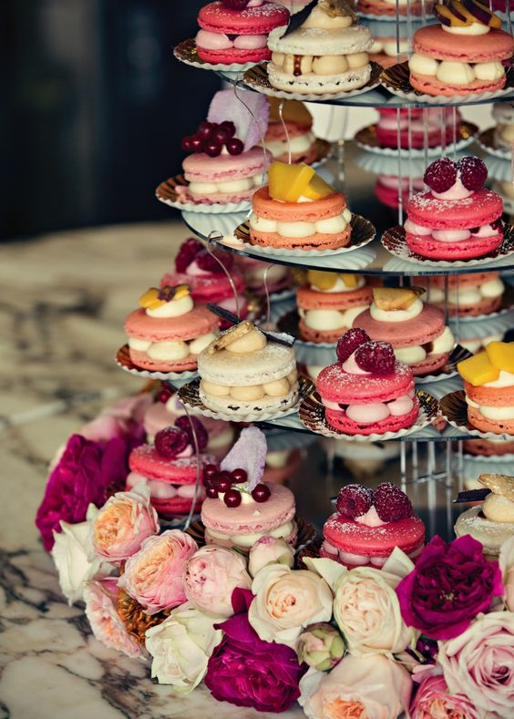 Yummy wedding macaroon tower is tasty sorbet shades.Photography by Dottie Photography #wedding #cakes #treats