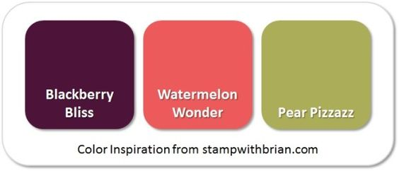 Stampin' Up! Color Inspiration: Blackberry Bliss, Watermelon Wonder, Pear Pizzazz: