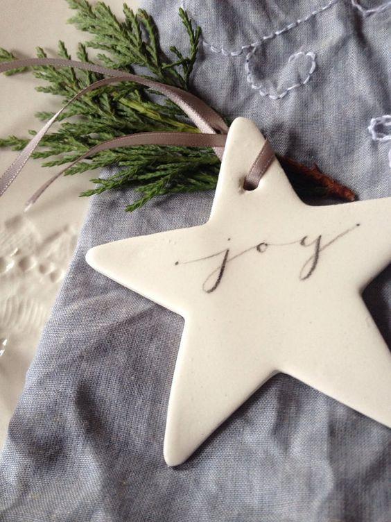 PRE ORDER Keramik Kalligraphie Sterne - Joy, Wunsch, Hoffnung, Noel