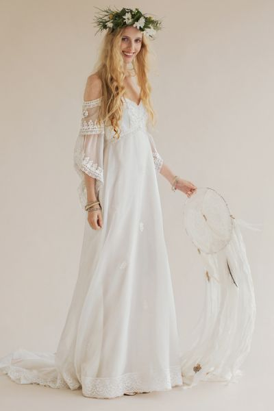 Rue de Seine's Joplin gown. This bohemian beauty is a vintage gown from the 1970s.