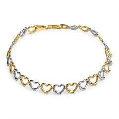 Armband Herzen aus 333er Gold Bicolor GB0006
