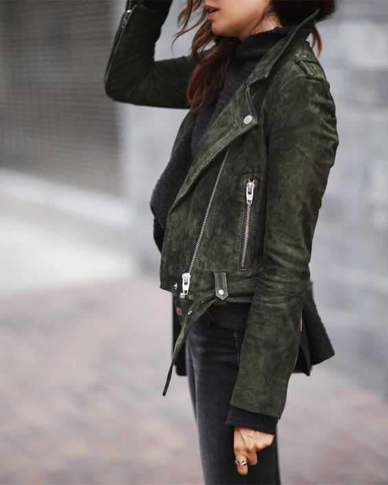 black and olive suede moto jacket - fall outfit inspiration and ideas