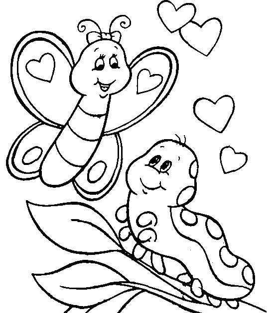 A Butterfly And Her Baby Caterpillar. For Boys And Girls Kids And Adults  Teenagers And T… Butterfly Coloring Page, Animal Coloring Pages,  Valentine Coloring Pages