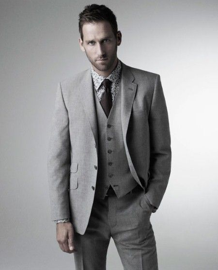Light grey 3-piece suit with patterned shirt and dark tie. | My
