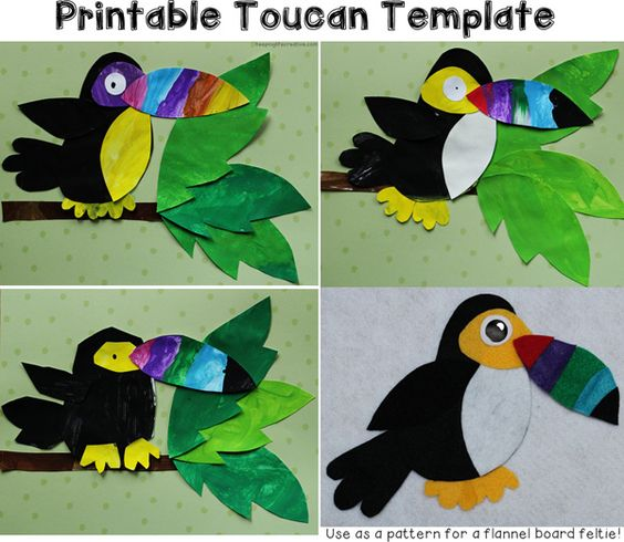 Toucan Template: fun craft for a Rain Forest theme! FREE today (9-9) only for TEMPLATE TUESDAY